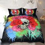 Hue Splash Blossom Skull 3D Printed Bedding Set Bedroom Decor