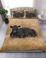 Beautiful Imagine Art Print Black Cow On The Farm Bedding Set Bedroom Decor