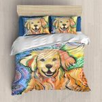 Colorful Golden Retriever Multicolor Bedding Set Bedroom Decor