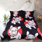 Cute Bulldog Red And Black Bedding Set Bedroom Decor