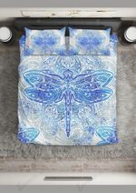 Blue Dragonfly Good Night Printed Bedding Set Bedroom Decor