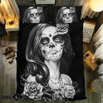 Black And White Hurt Skull Collection Printed Bedding Set Bedroom Decor
