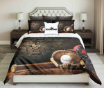 Baseball Tools On Brick Wall Background Design  Bedding Set Bedroom Decor