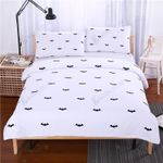 Bat Black And White Printing Bedding Set Bedroom Decor