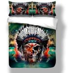 Cool Skull Multi Color Tiger Face Printed Bedding Set Bedroom Decor