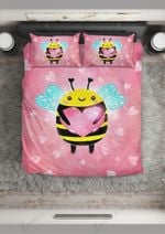Cute Little Bee Holding Heart Bedding Set Bedroom Decor