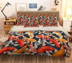 3D Colorful Koi Japanese Fishes Printed Bedding Set Bedroom Decor