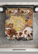 Cute Bulldog Family With Flowers Printed Bedding Set Bedroom Decor