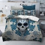 3D Skull Blue Flowers Bedding Set Bedroom Decor