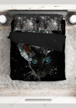 Black Galaxy Meowy Cat Witch Printed Bedding Set Bedroom Decor