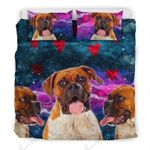 Boxer Dog Hearts Cute Dogs In Space Printed Bedding Set Bedroom Decor