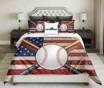 Baseball Design On Usa Flag Background  Bedding Set Bedroom Decor