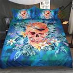 Blue Feather Skull Bedding Set Bedroom Decor