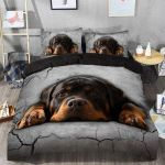 Beautiful Imagine Art Print Face Of Rottweiler Dog Lying  Bedding Set Bedroom Decor