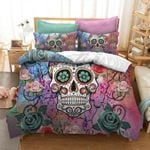 3D Colorful Flowers Skull S Printed Bedding Set Bedroom Decor