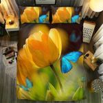 Blue Butterfly And Tulips Bedding Set Bedroom Decor