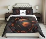 Black Orange Basketball On Black Cracked Wall Background Design  Bedding Set Bedroom Decor