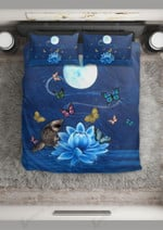 Blue Lotus And Colorful Butterflies Printed Bedding Set Bedroom Decor