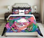Bright Colours Geometric And Flowers Patern Skull Design  Bedding Set Bedroom Decor