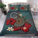 Blue Turtle Tribal On Island With Flowers  Bedding Set Bedroom Decor