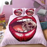 3D Art Red Lip Skull  Bedding Set Bedroom Decor