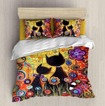 Cute Couple Cats Together Flowers Printed Bedding Set Bedroom Decor