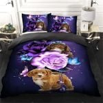 Cute Poodle Puppy Pudelhund Caniche Fantasy Purple Roses  Bedding Set Bedroom Decor