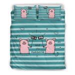 Cute Pink Pigs Funny Blue Stripes Bedding Set Bedroom Decor
