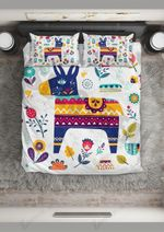 Cute Flower And Donkey Printed Bedding Set Bedroom Decor