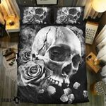 Black And White Rose Skull Collection Printed Bedding Set Bedroom Decor Bedding Set