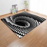 3D Black And White Geometric Swirl 3D Grapic Design Area Rug Home Decor