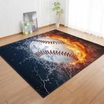 Black Flaming Baseball 3D Grapic Design Area Rug Home Decor