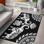 Black Elephant Mandala 3D Printed Area Rug Home Decor