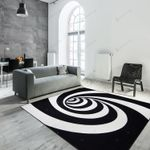 3D Spiral Hole White And Black  Area Rug Home Decor