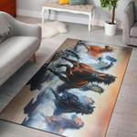 Horse Running 3D Grapic Design Area Rug Home Decor