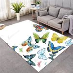 White Colorful Flying Butterflies 3D Grapic Design Area Rug Home Decor
