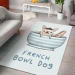 French Bowl Dog Break  Area Rug Home Decor Gift For Dog Lover