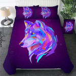Beautiful Colorful Poly Wolf Face Printed Bedding Set Bedroom Decor