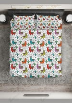 Colorful Llama And Cactus Pattern Bedding Set Bedroom Decor