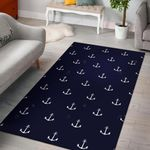 Anchor Pattern Navy 3D Printed Area Rug Home Decor