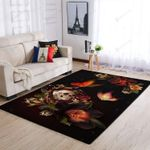 Flower And Skull 3D Grapic Design Area Rug Home Decor