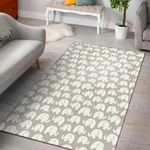 Gray and White Elephant Pattern 3D Printed Area Rug Home Decor
