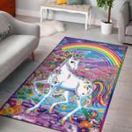 Unicorn With Rainbow Colourful 3D Grapic Design Area Rug Home Decor