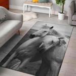 White Houre 3D Grapic Design Area Rug Home Decor