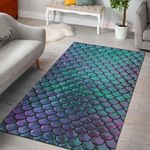 Mermaid Scales 3D Print Design Area Rug Home Decor