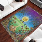 Woodstock Flower And Butterfly Pattern Area Rug Home Decor