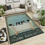 Border Collie Vintage Style Area Rug Home Decor