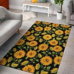 Sunflower Pattern 3D Print Design Area Rug Home Decor