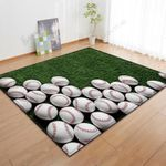 Green Stacked Baseball Print3D Grapic Design Area Rug Home Decor