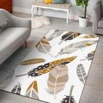 Feather Leaf White 3D Grapic Design Area Rug Home Decor